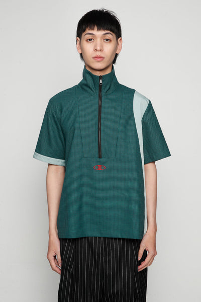 Needle In The Sea - Jess Zip Turtleneck Warm-up Shirt Polo Green Gingham Grid + Gossamer Green
