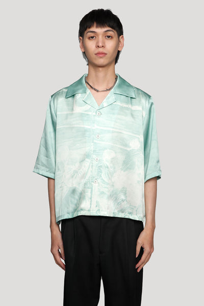Needle In The Sea - Vacay Cropped Loose Silk Shirt Gossamer Green Fisherman