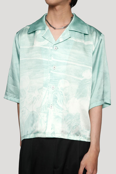 Vacay Cropped Loose Silk Shirt Gossamer Green Fisherman