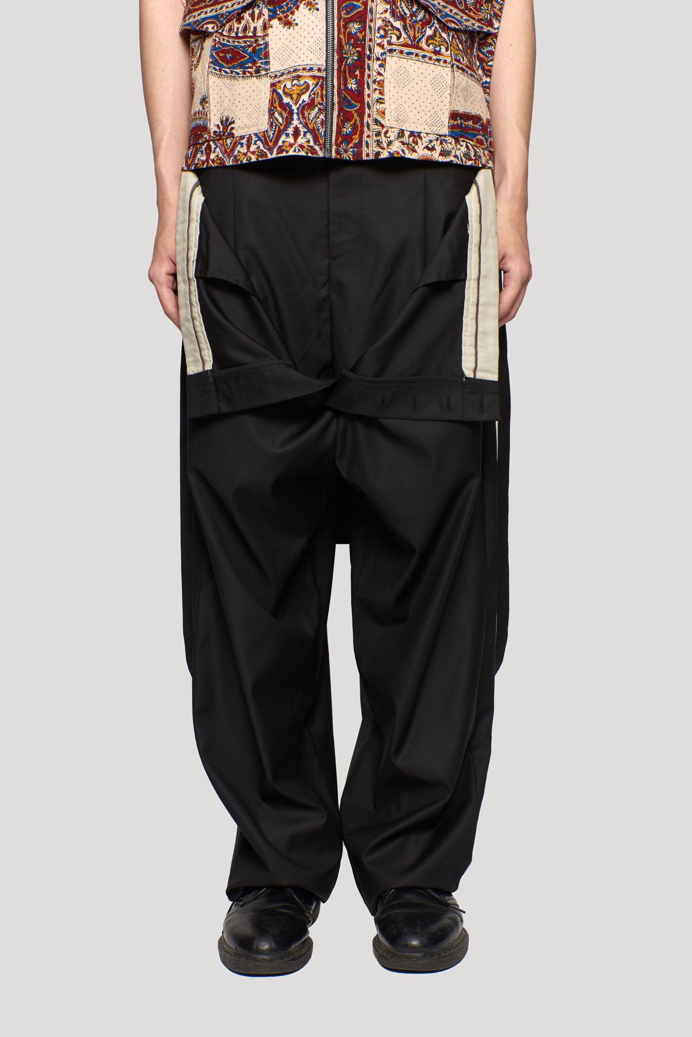 Roger Dropped Double Layer Suspender Trouser Loro Piana Dry Onyx