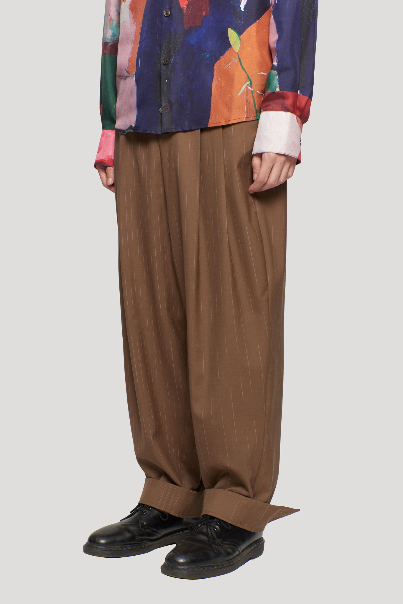 Dan Wide Leg Carrot Double Layer Trouser Safari Pastel Blue Teardrop Stripe