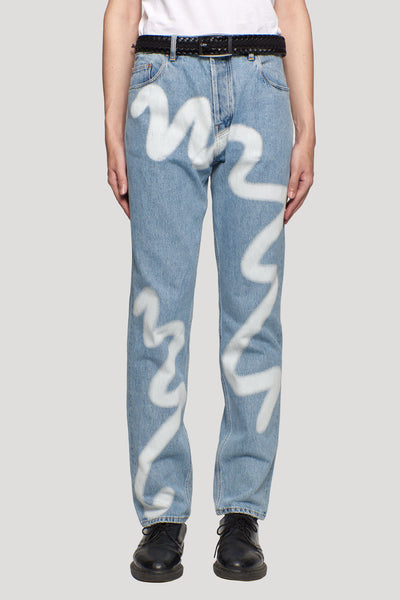 Martine Rose - Straight Leg Jean Blue Denim Spray