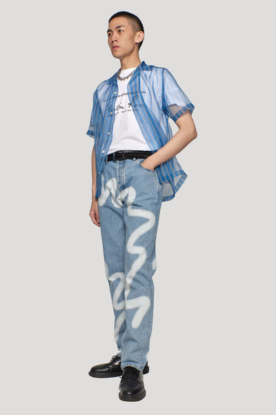 Straight Leg Jean Blue Denim Spray