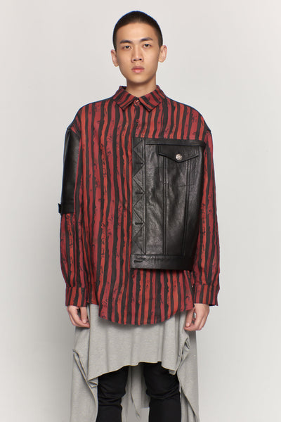 Martine Rose - Leather Hybrid Shirt Shiny Blk/red Stripe