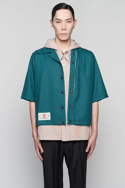 Needle In The Sea - Bunun Cardigan Worker Shirt Polo Green Gingham Grid + NIKKE Gossamer Green