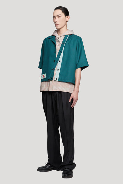 Bunun Cardigan Worker Shirt Polo Green Gingham Grid + NIKKE Gossamer Green