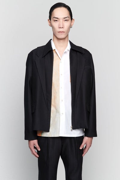 Needle In The Sea - Seth Lapel Panelled Layered Jacket Dry Onyx Muted Stripes