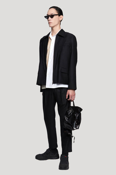Seth Lapel Panelled Layered Jacket Dry Onyx Muted Stripes