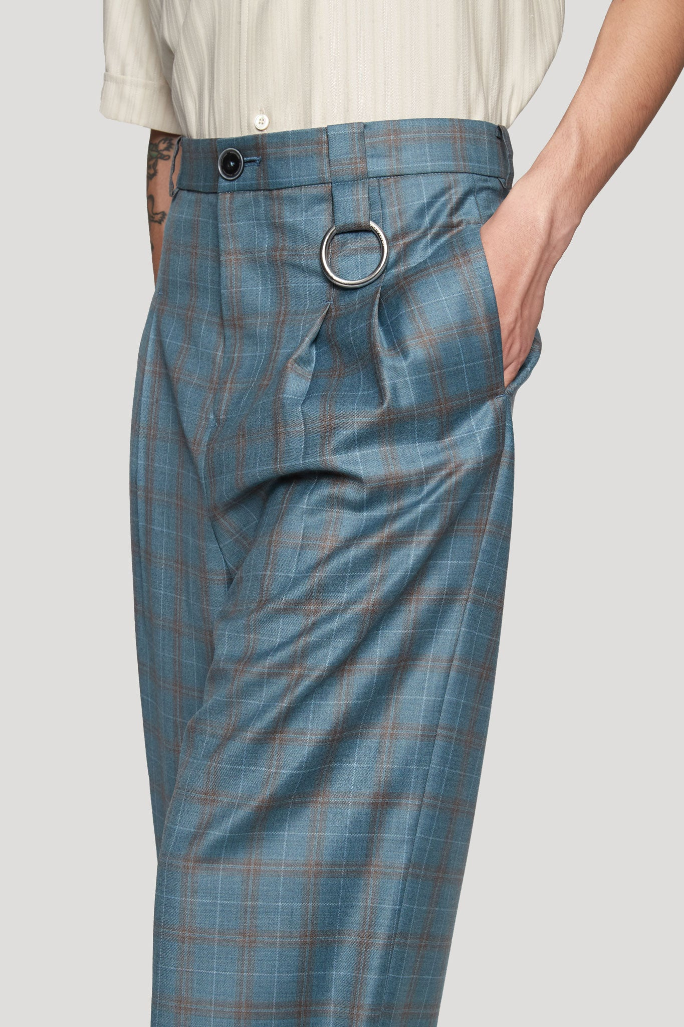 Dobby Pleats Wide Trouser Oil Stain Ocean Plaid