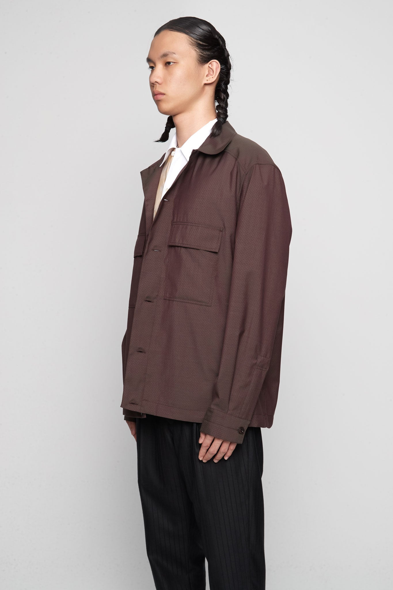 Pockets Overshirt Aubergine