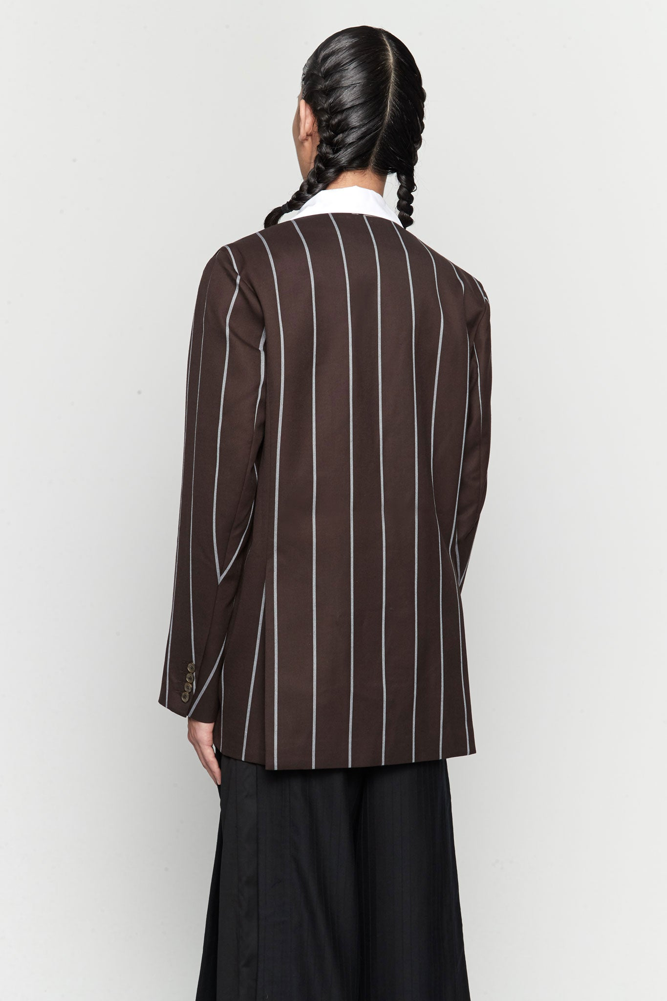 Kin Collarless Mandarin Suit Canal Blue Mud Wide Pinstripe