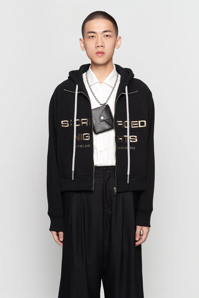 Needle In The Sea - Hung Cropped Track Hoodie Dry Onyx
