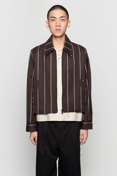 Needle In The Sea - Manchester Cropped Jacket Canal Blue Mud Wide Pinstripe