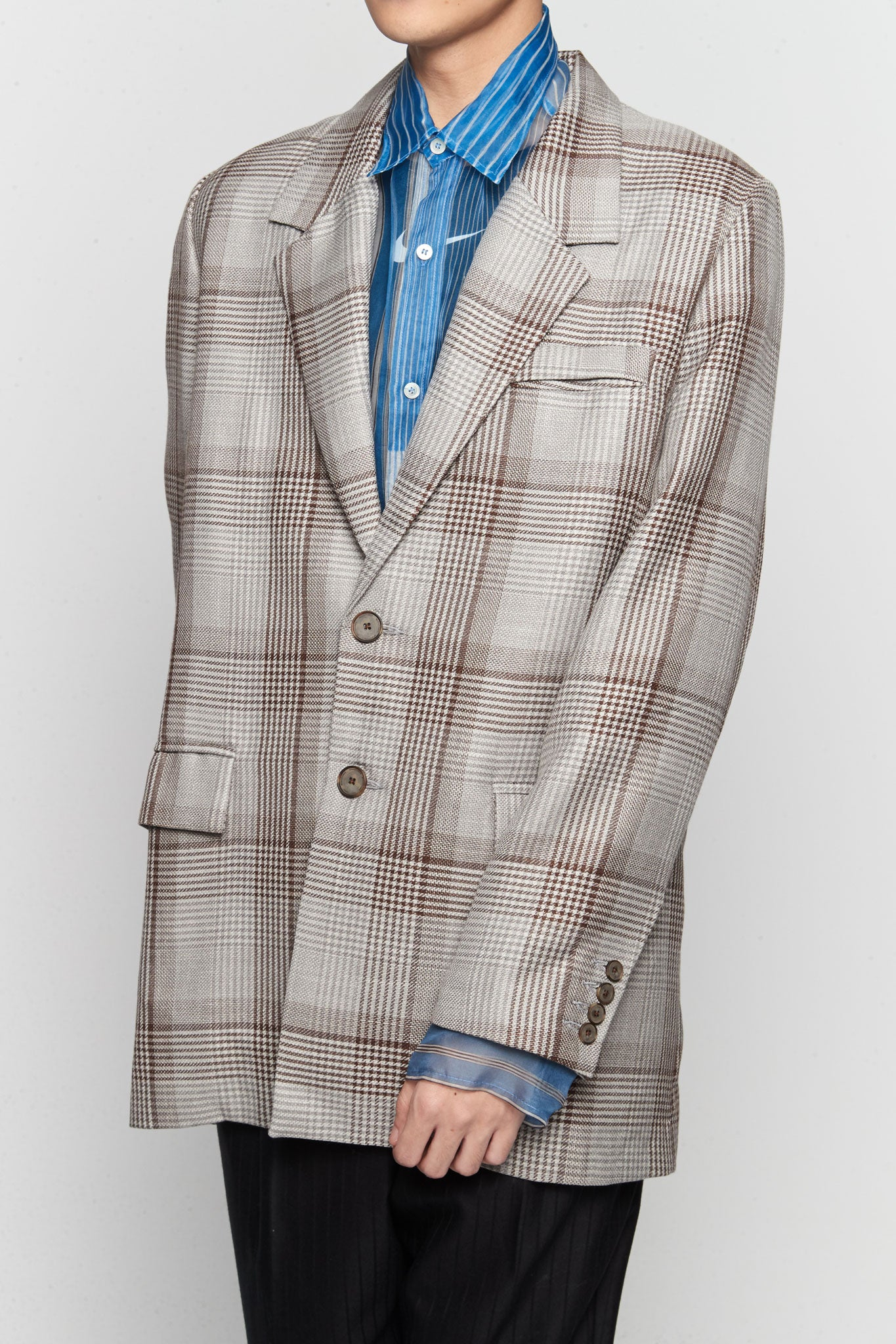 Sam Single Breast Suit Silver Soil Oversized Plaids