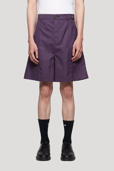 Needle In The Sea - Toni Cropped Worker Shorts Violet Gingham Grid