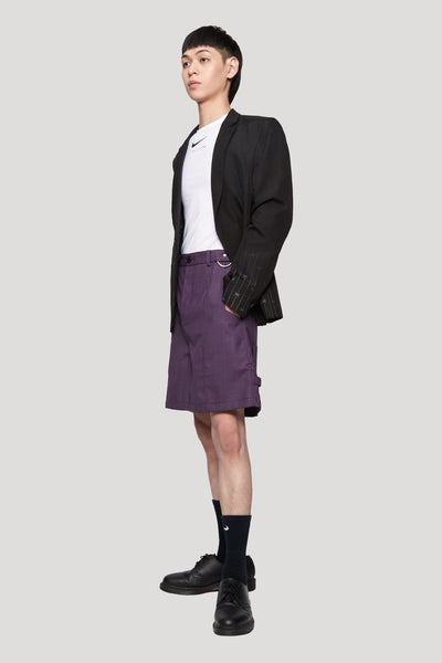 Toni Cropped Worker Shorts Violet Gingham Grid