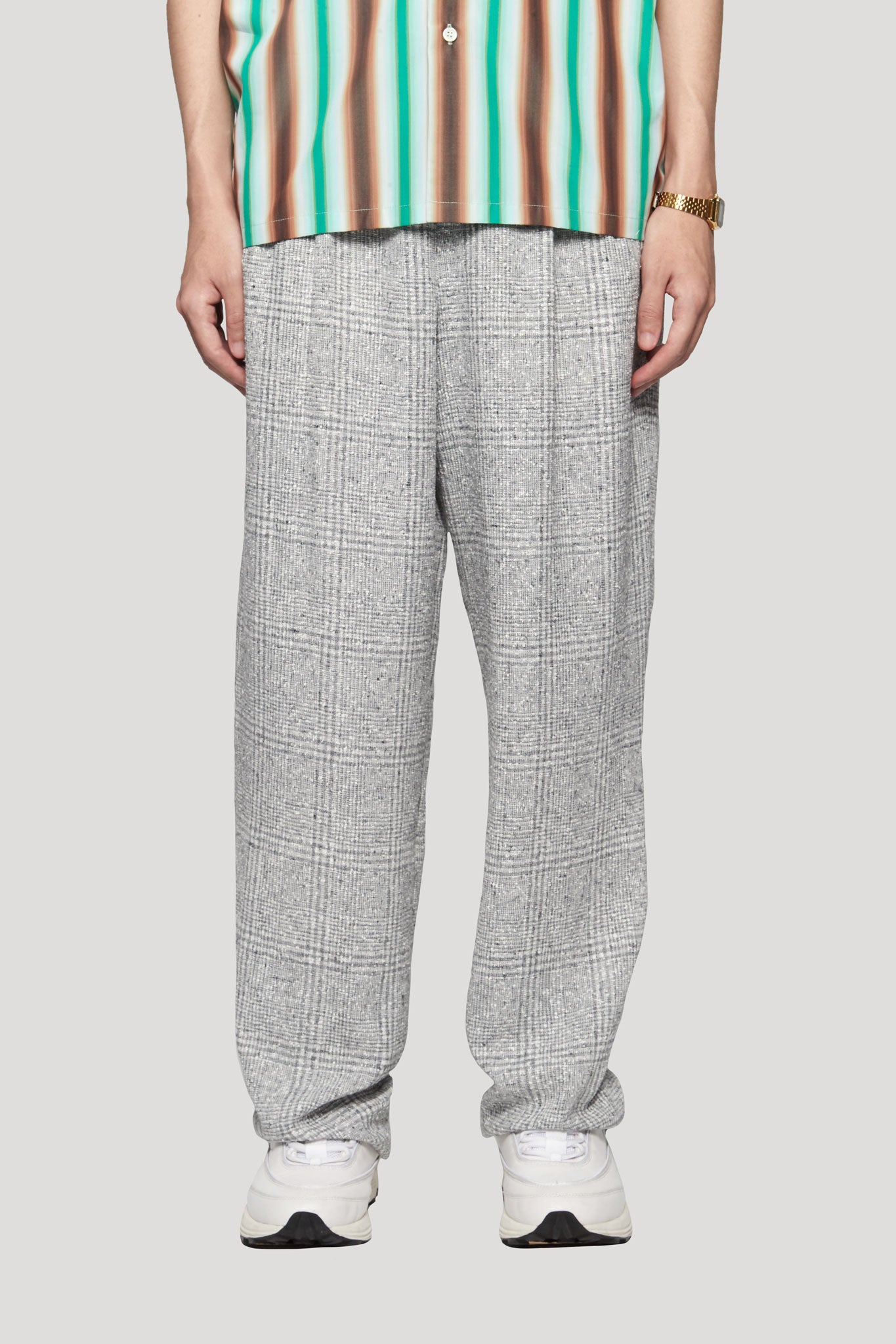 Mich Pleats Straight Trouser Silver Heaven Plaids