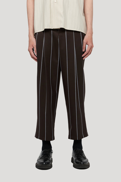 Needle In The Sea - Sage Carrot Cropped Deconstructed Trouser Canal Blue Mud Wide Pinstripe