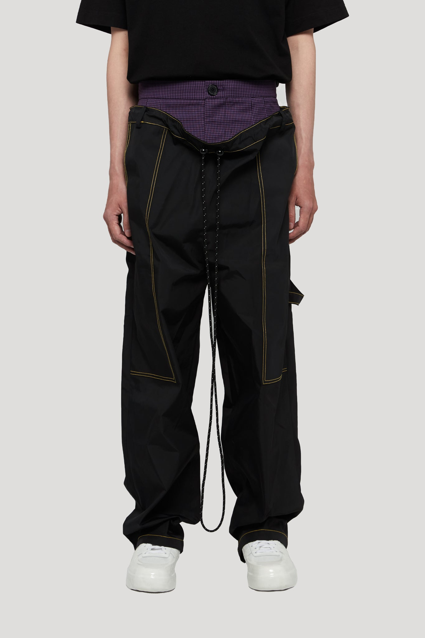 RogerDropped Double Layer Worker Trouser Tory black + violet