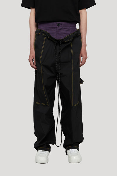 Needle In The Sea - RogerDropped Double Layer Worker Trouser Tory black + violet
