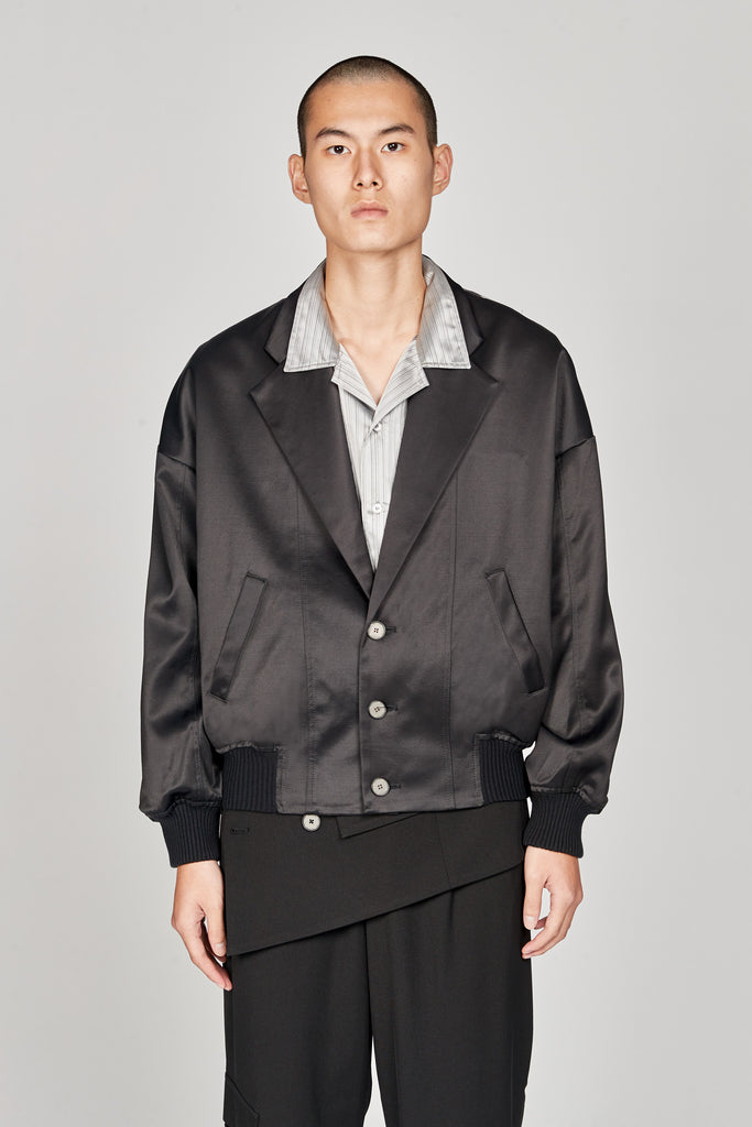 Fort Notch Lapel Loose Bomber Polish Dry Onyx