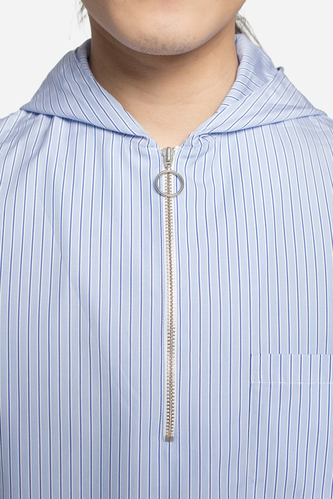 Wil Striped Hooded Zip Shirt Navy/White