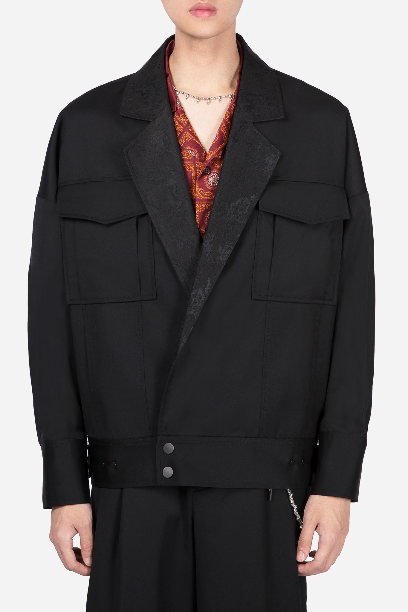 Penn Notch Lapel Denim Jacket Dry Onyx Floral