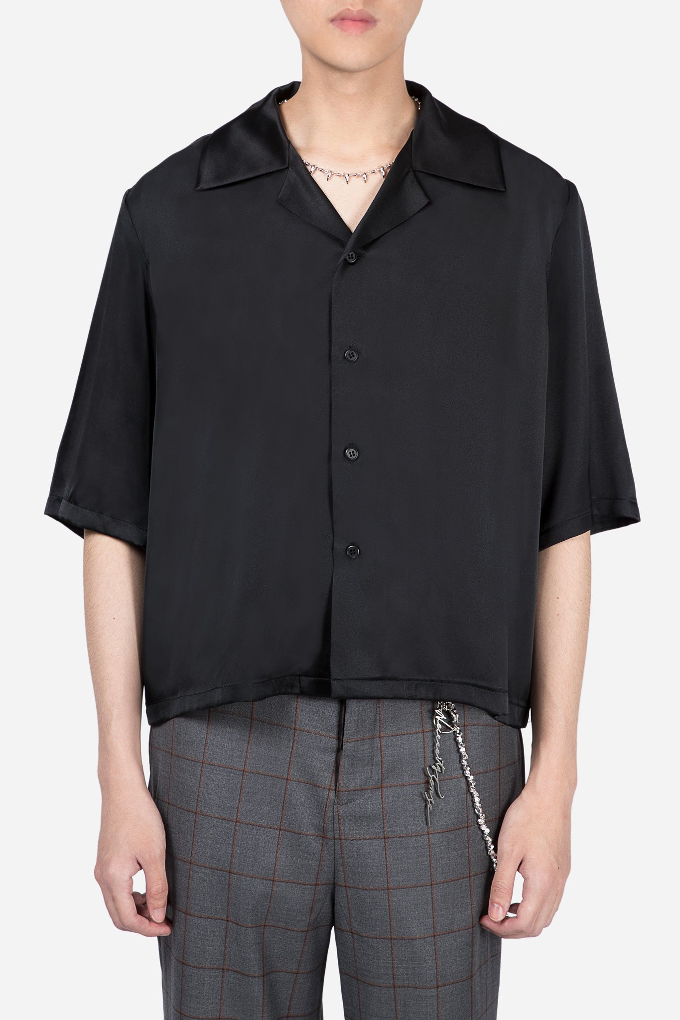 Vacay Cropped Silk Shirt Dry Onyx