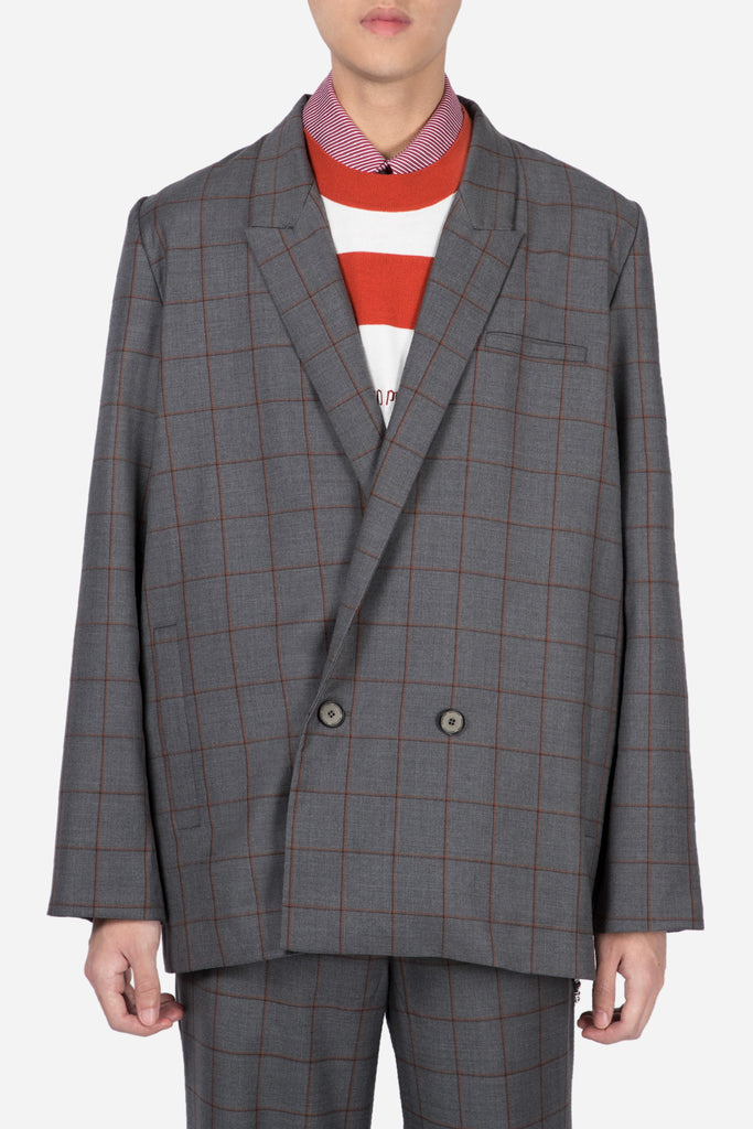 Kin Relax Tailored Suit Silver Rust Shadow Grid