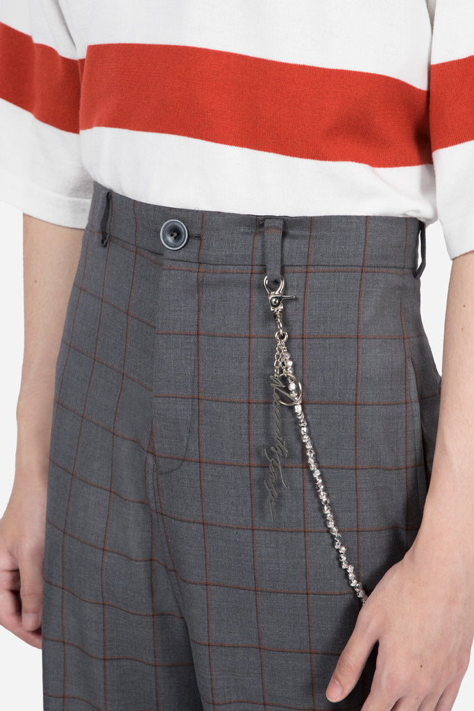 Line Flare Trouser Silver Rust Shadow Grid