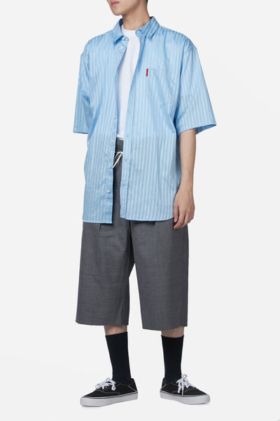 Oversized Short Sleeve Shirt Blue Lake Stripe