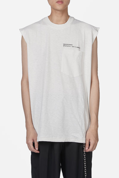 Song for the mute - Wander Dad Print Oversized Sleeveless Tee White