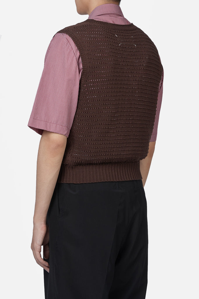 Brown Knit Sleeveless Vest