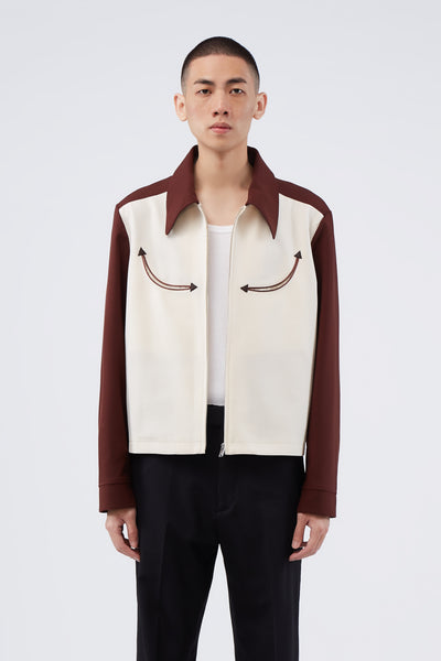 Second / Layer - Western Two-Tone Jacket Bordeaux / Ivory