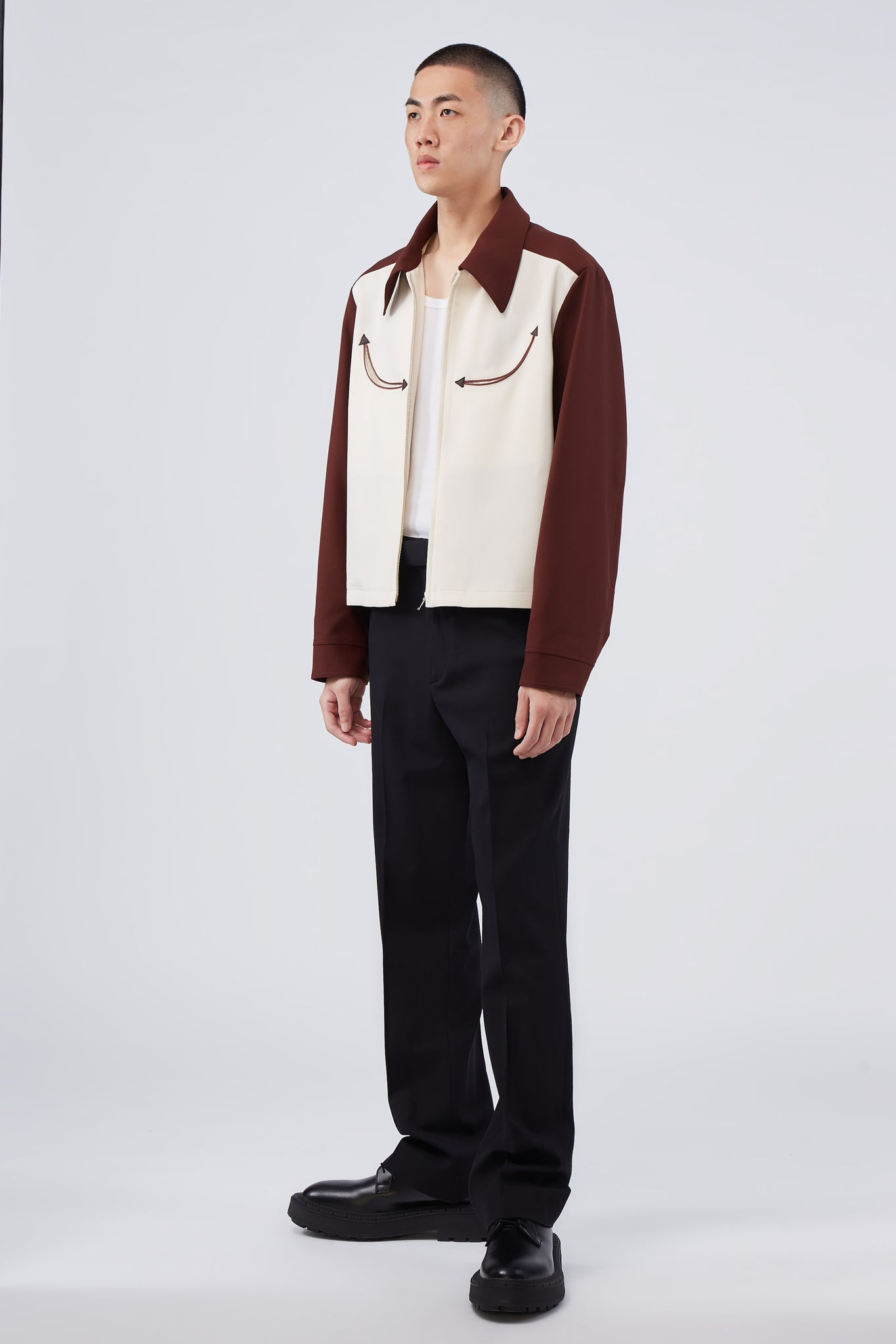 Western Two-Tone Jacket Bordeaux / Ivory