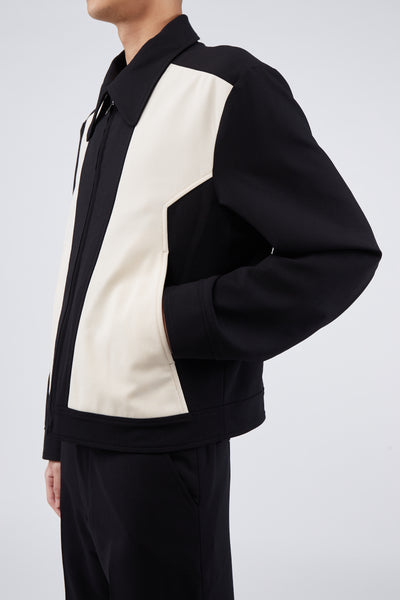 Zig Zag Paneled Jacket Black/Ivory
