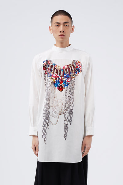 COMME des GARÇONS Homme Plus - White A-pattern Pearl Bead Embroidery Shirt