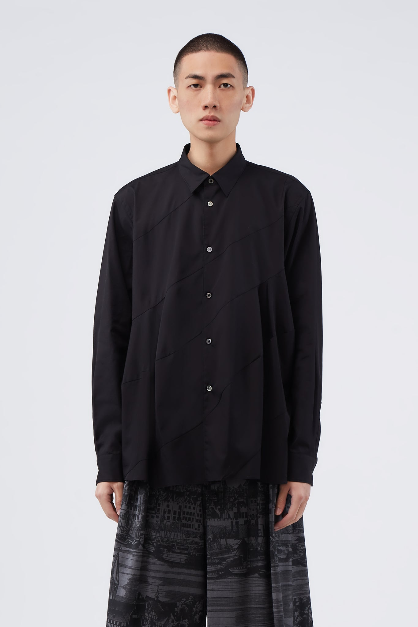 Black Spiral Seam Shirt
