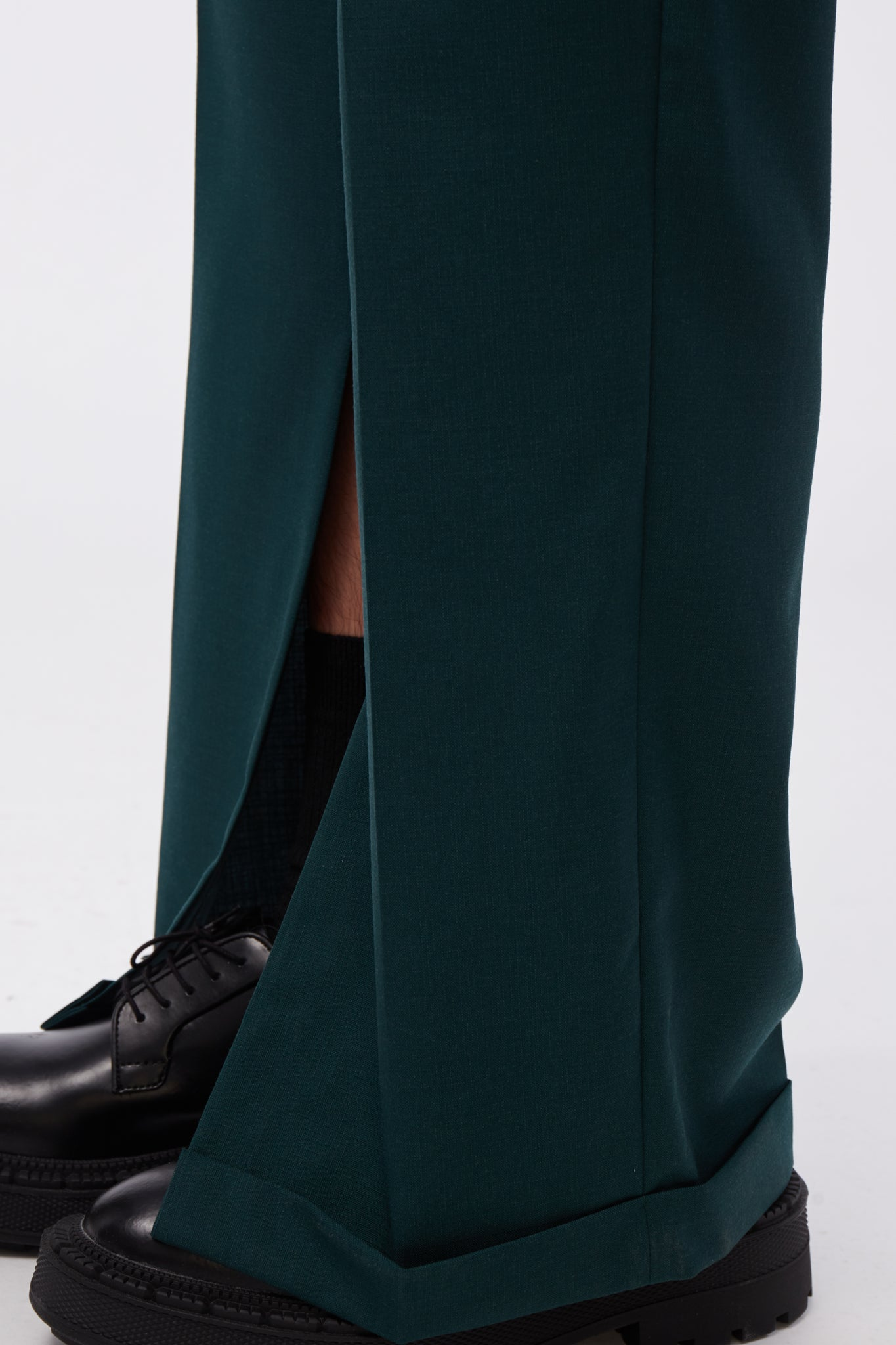 High-rise wide-leg Split trousers Bayberry Green