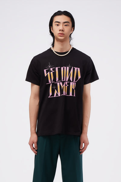 Second / Layer - SECOND LAYER Outline T-Shirt Black