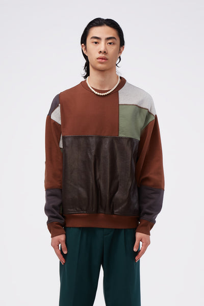 GR-Uniforma - Patchwork Sweatshirt Brown