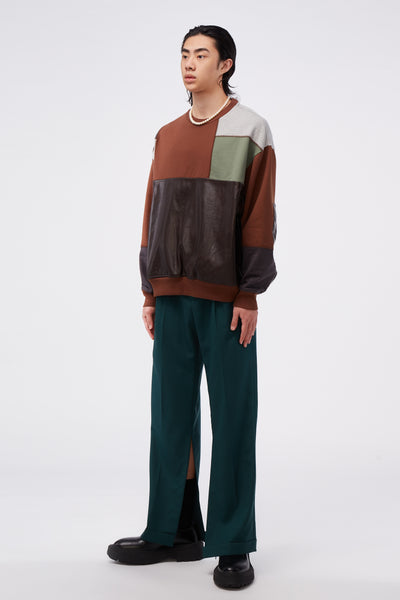 Patchwork Sweatshirt Brown