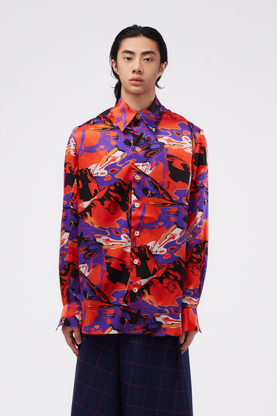 Act Of Desire - Ted Loose LS Shirt Psychedalic Ice Pattern
