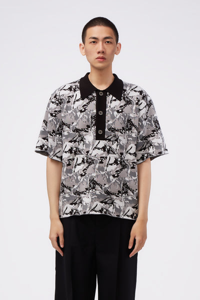 Act Of Desire - West Short Sleeve Polo Dry Onyx Psychedelic Ice Pattern