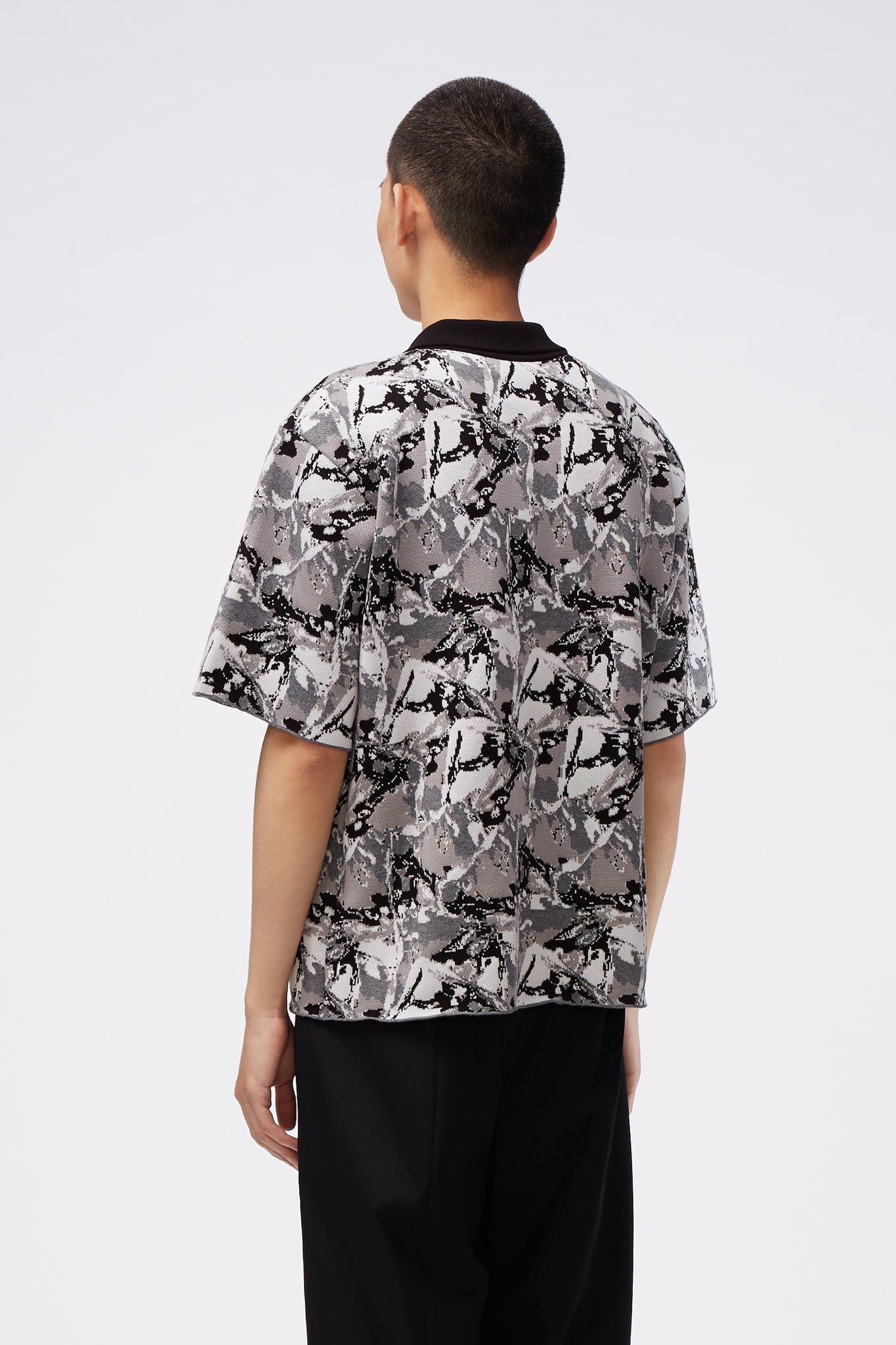 West Short Sleeve Polo Dry Onyx Psychedelic Ice Pattern