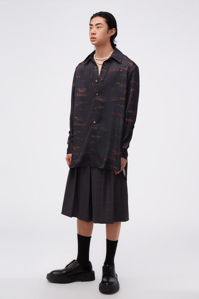 Ted Loose LS Shirt Dry Onyx Script Pattern