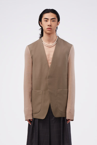 Maison Margiela - Knit Sleeve Cardigan Jacket Beige