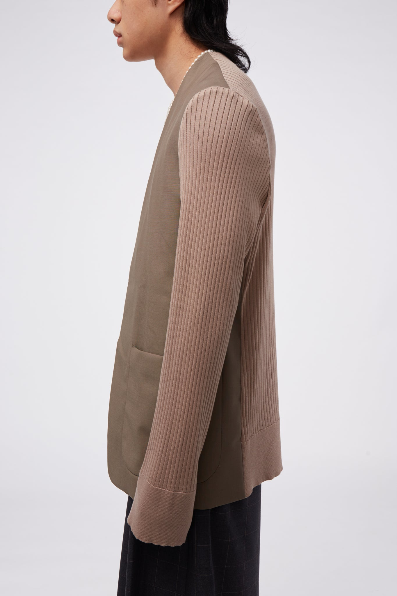 Knit Sleeve Cardigan Jacket Beige