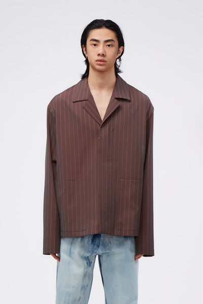 Maison Margiela - Tonic Stripe Worker Jackets Burgundy
