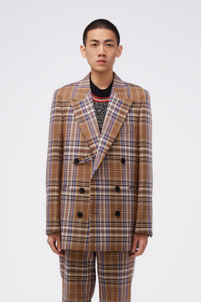 WOOYOUNGMI - Double Breasted Beige Check Jacket